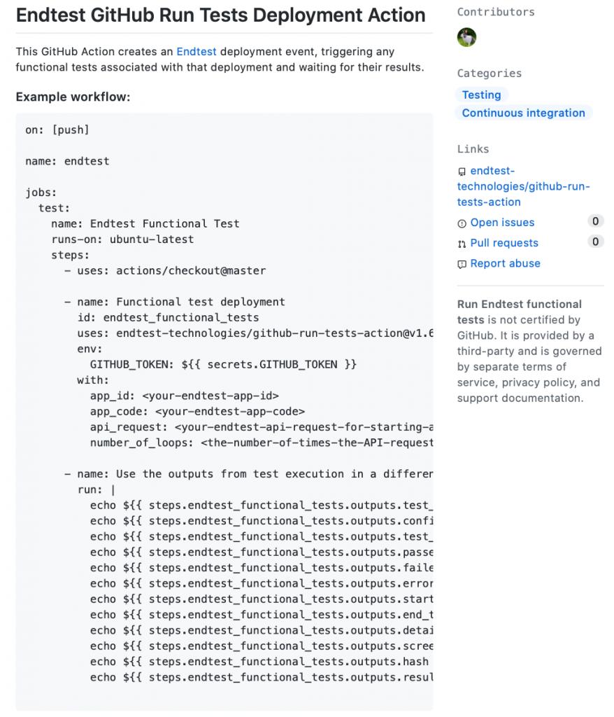 GitHub run test app